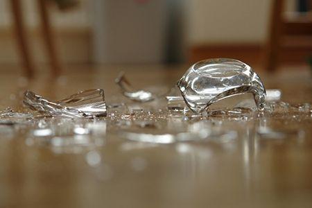 Broken Glass in Kitchen with Open Shelves