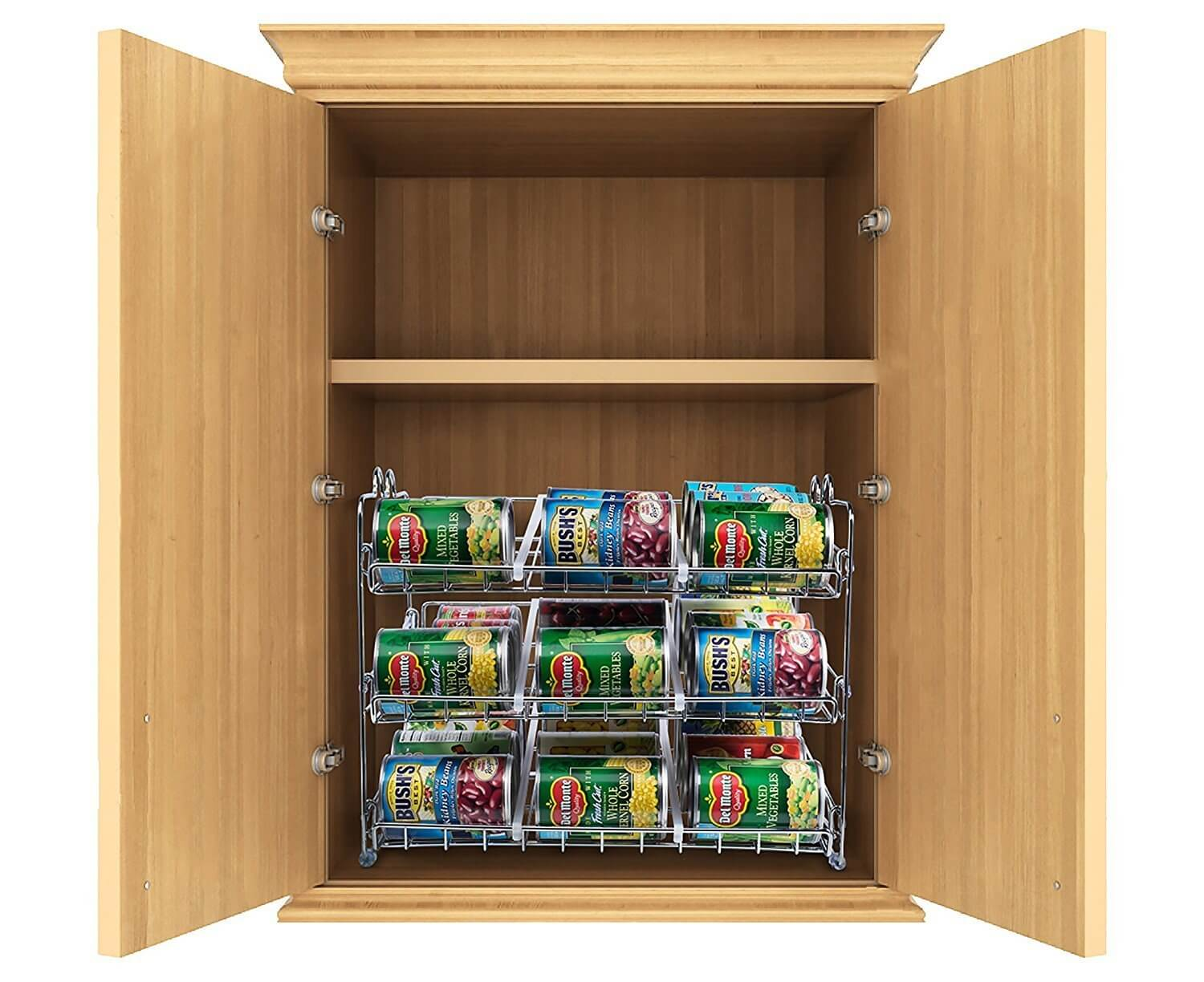 Stackable Can Organizer in Kitchen Cabinet