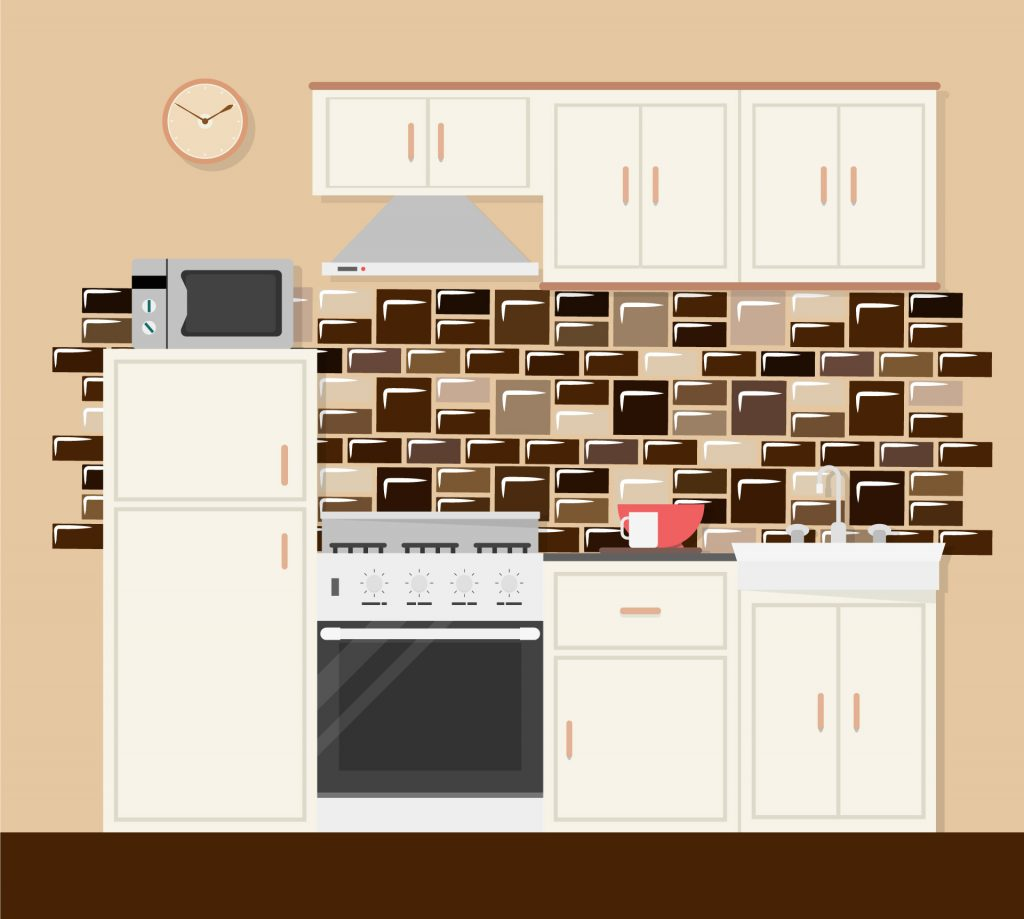 white kitchen cabinet with blacksplashes