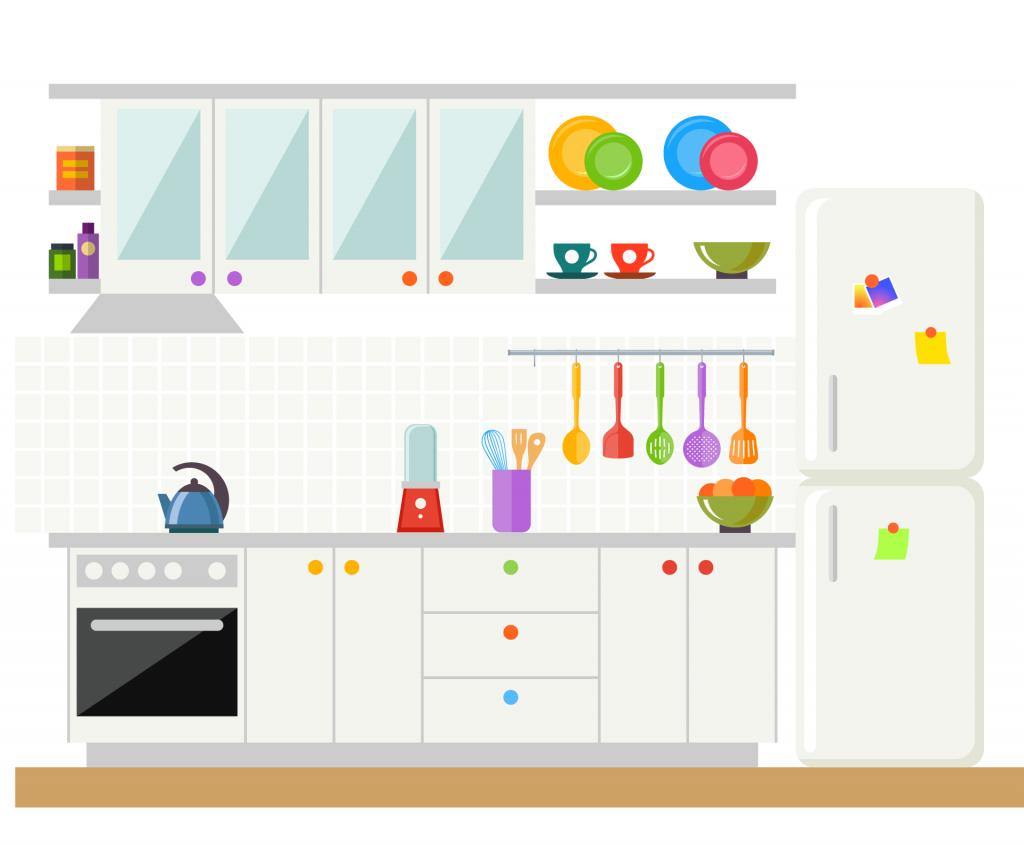 white kitchen cabinet idea - colorful decoration