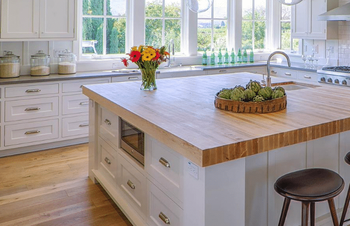 Farmhouse Kitchen With Butcher Block Counters