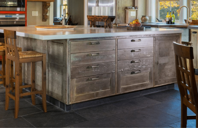 Farmhouse Kitchen With Distressed Finishes