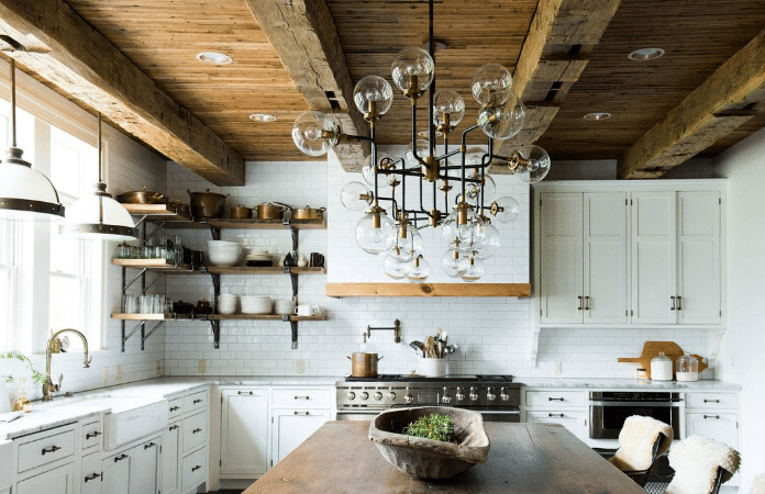 Farmhouse Kitchen With Exposed Wood