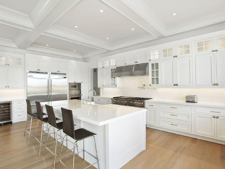 white shaker kitchen island