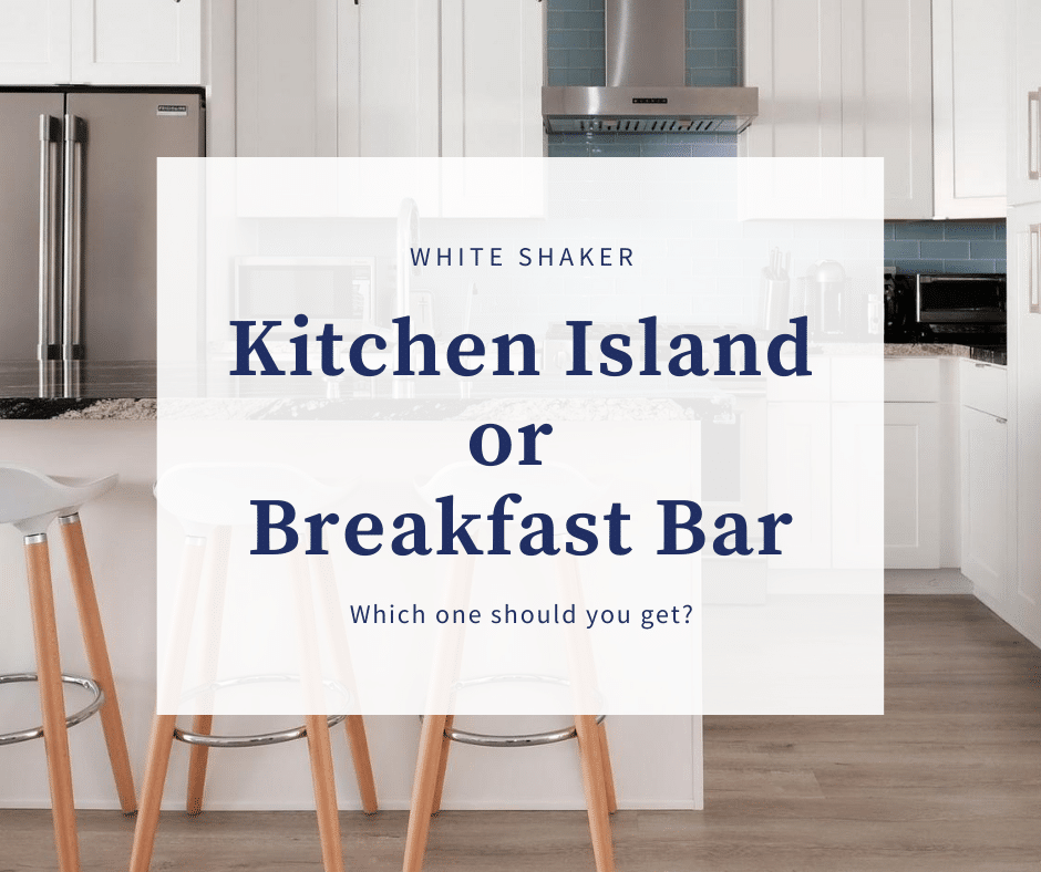White Shaker Kitchen Island And Breakfast Bar Best Online Cabinets