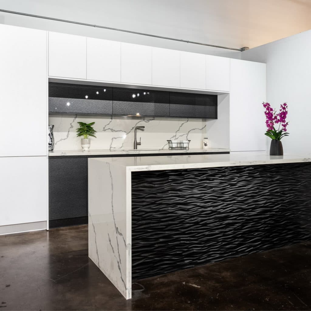kitchen countertop waterfall