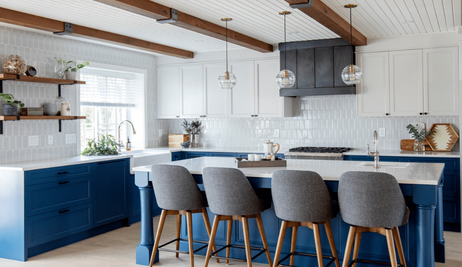 two-toned shaker kitchen cabinets