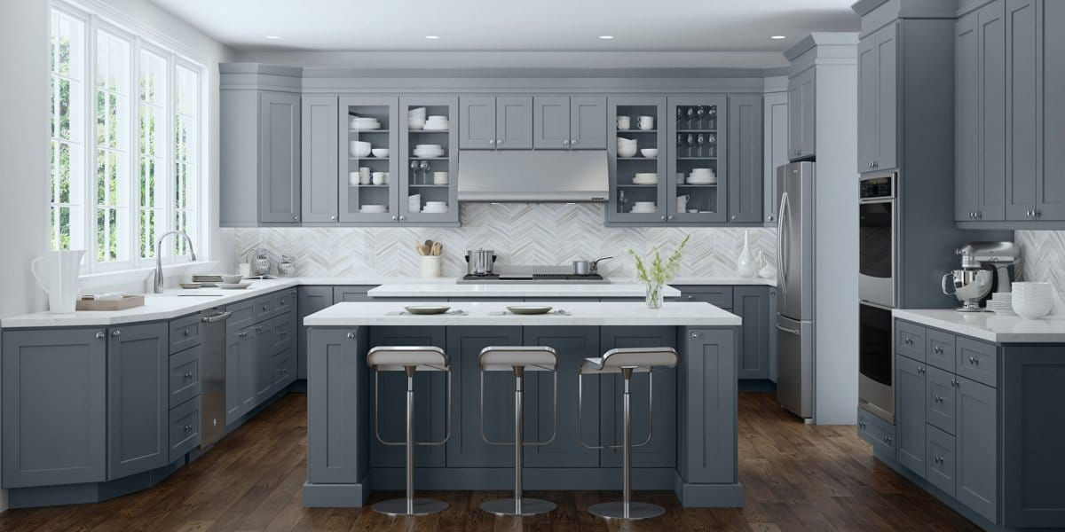 colored shaker cabinets